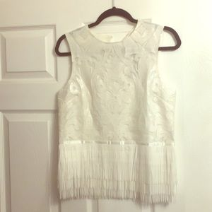 English Factory white fringed top